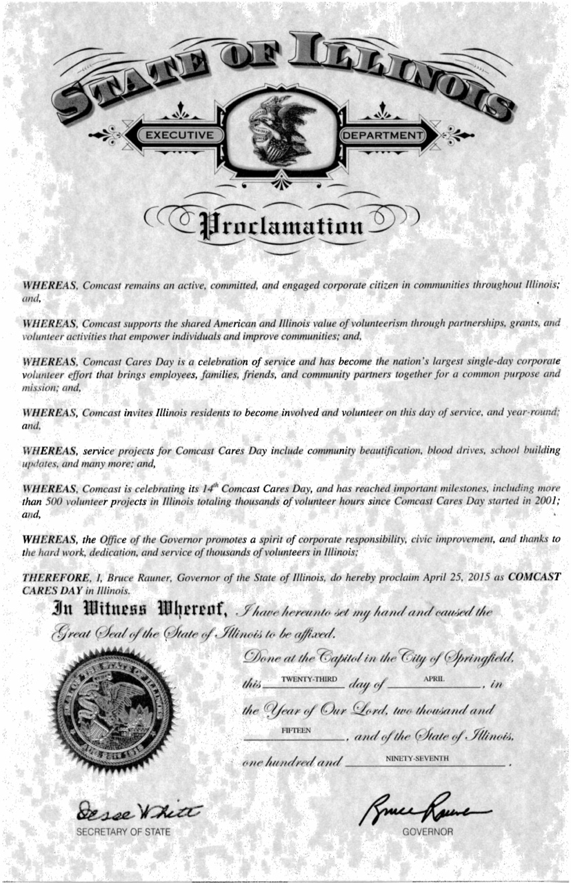 Governor Bruce Rauner proclaims April 25, 2015, Comcast Cares Day in Illinois.