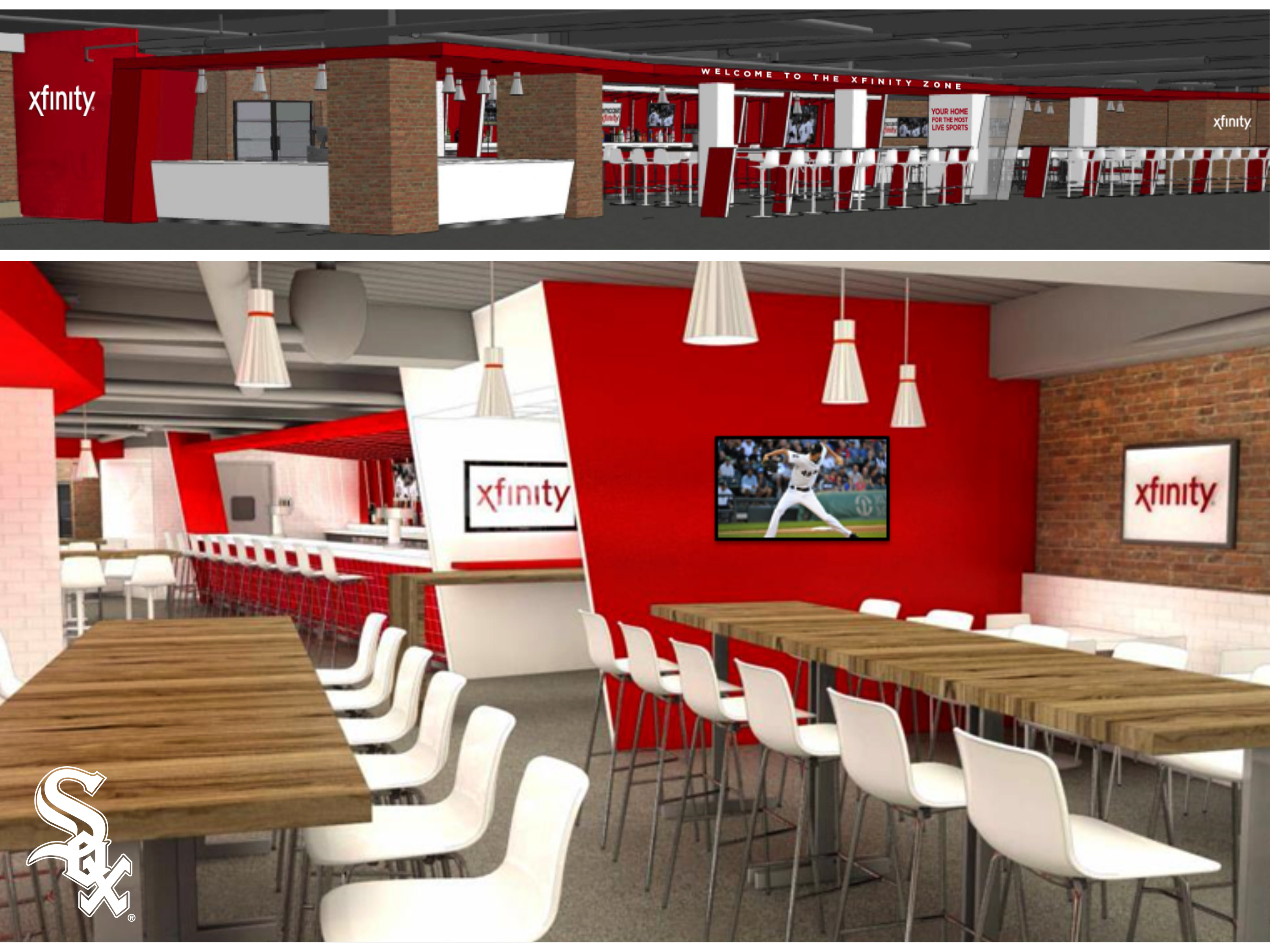 Rendering of the Xfinity Zone at U.S. Cellular Field in Chicago